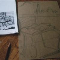 鉛筆画の「ベネチア物語」を合板にペンキ画にしようとしている。まずは鉛筆で段取り。
