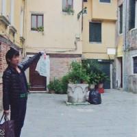啓がベネチアで泊まっていたホテルです「あそこです」