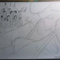 全身にルカさんとステファンさんの奏でるチェロの音楽が鳴り響く中 アトリエでその時間を描く